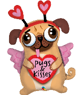 "36"" Pugs & Kisses Foil Balloon"