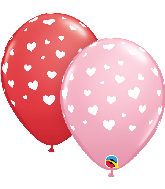 "11"" Random Hearts Red, Pink (50 Per Bag) Latex Balloons"