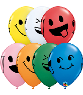 "11"" Smiley Faces Assortment (50 Per Bag) Latex Balloons"