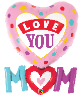 "33"" Love You M(HEART)M Dots Foil Balloon"