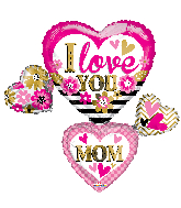 "36"" I Love You Mom Many Hearts Shape Foil Balloon"