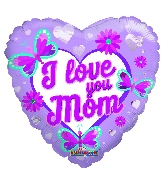 "18"" I Love You Mom Butterflies And Flowers Foil Balloon"