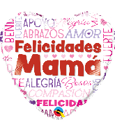 "18"" Heart Felicidades Mama Words Foil Balloon"