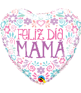 "18"" Heart Feliz Dia Mama Pastel Colors Foil Balloon"