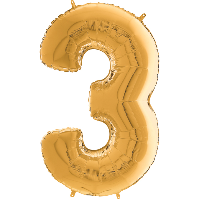 "26"" Midsize Foil Shape Balloon Number 3 Gold"