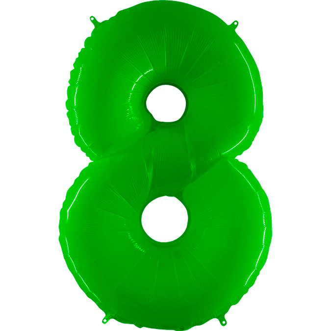 "40"" Foil Shape Balloon Number 8 Fluorescence Lime"