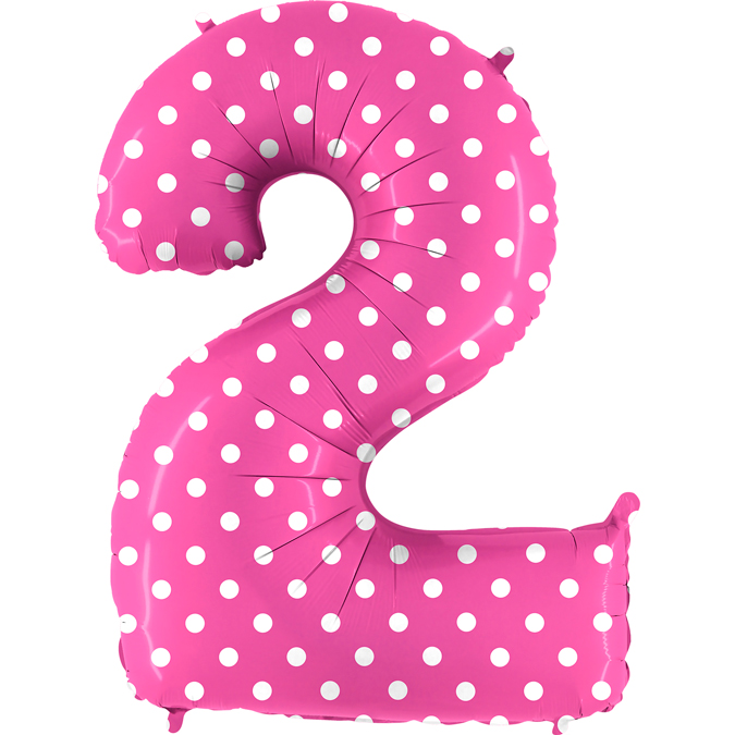 "40"" Foil Shape Balloon Number 2 Baby Pink Dots"