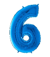 "26"" Midsize Foil Shape Balloon Number 6 Blue"