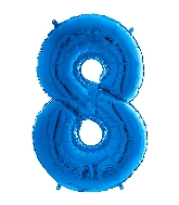 "26"" Midsize Foil Shape Balloon Number 8 Blue"