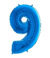 "26"" Midsize Foil Shape Balloon Number 9 Blue"