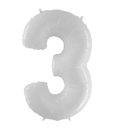 "40"" Foil Shape Balloon Number 3 Bright White"
