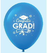 "11"" Congrats Grad Latex Balloons 25 Count Blue"