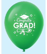 "11"" Congrats Grad Latex Balloons 25 Count Green"