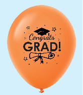 "11"" Congrats Grad Latex Balloons 25 Count Orange"