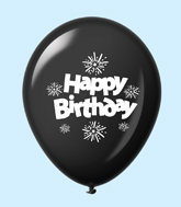 "11"" HB Streamers Latex Balloons Black (25 Per Bag)"