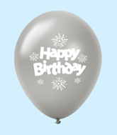 "11"" HB Streamers Latex Balloons Silver (25 Per Bag)"