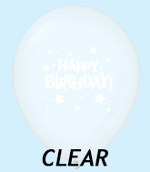 "11"" HB Stars Latex Balloons Clear (25 Per Bag)"