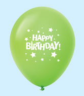 "11"" HB Stars Latex Balloons Lime Green (25 Per Bag)"