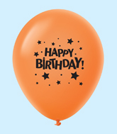 "11"" HB Stars Latex Balloons Orange (25 Per Bag)"