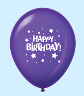 "11"" HB Stars Latex Balloons Purple (25 Per Bag)"