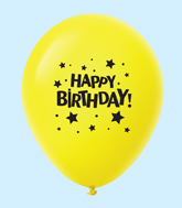 "11"" HB Stars Latex Balloons Yellow (25 Per Bag)"