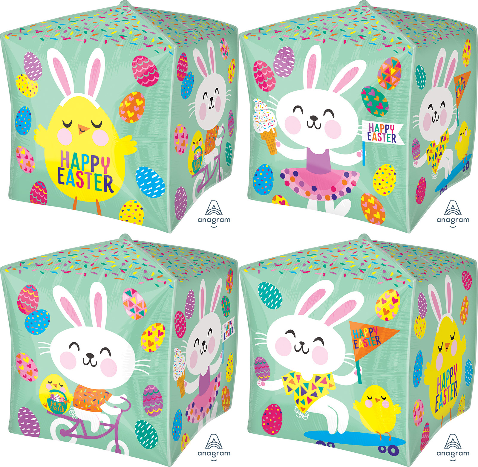 "15"" Busy Bunnies UltraShape™ Cubez™ Foil Balloon"