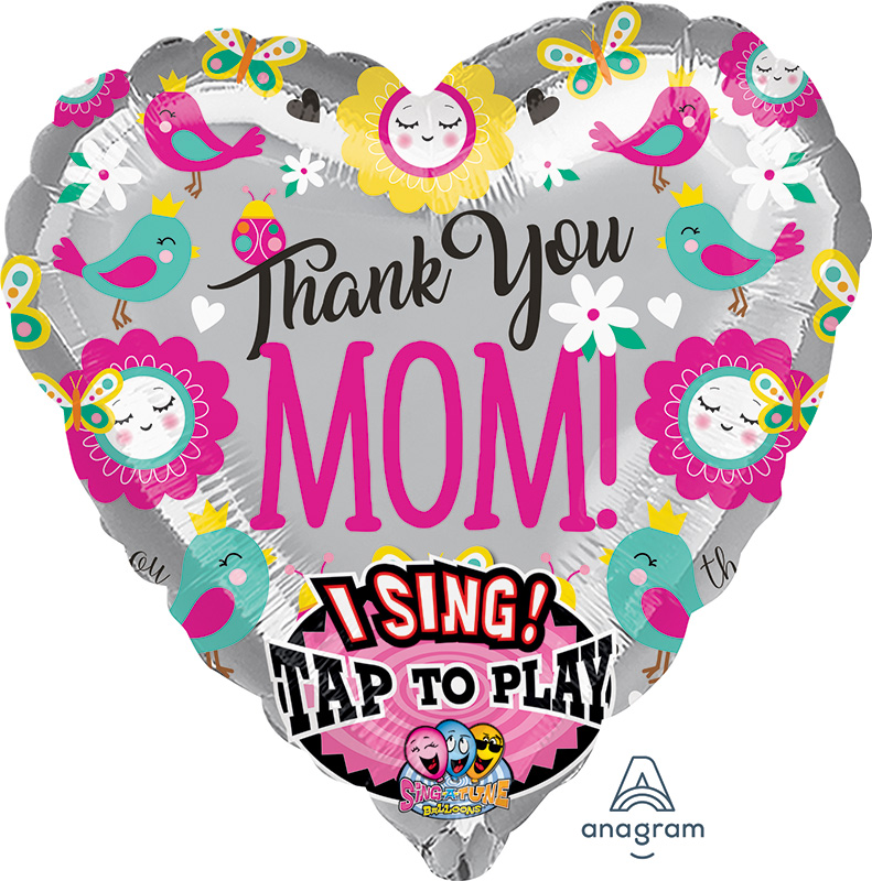 "29"" Thank You Mom Jumbo Sing-A-Tune® XL® Foil Balloon"