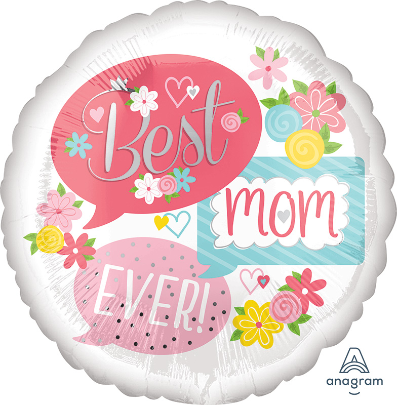 "28"" Best Mom Ever Bubbles Jumbo Foil Balloon"
