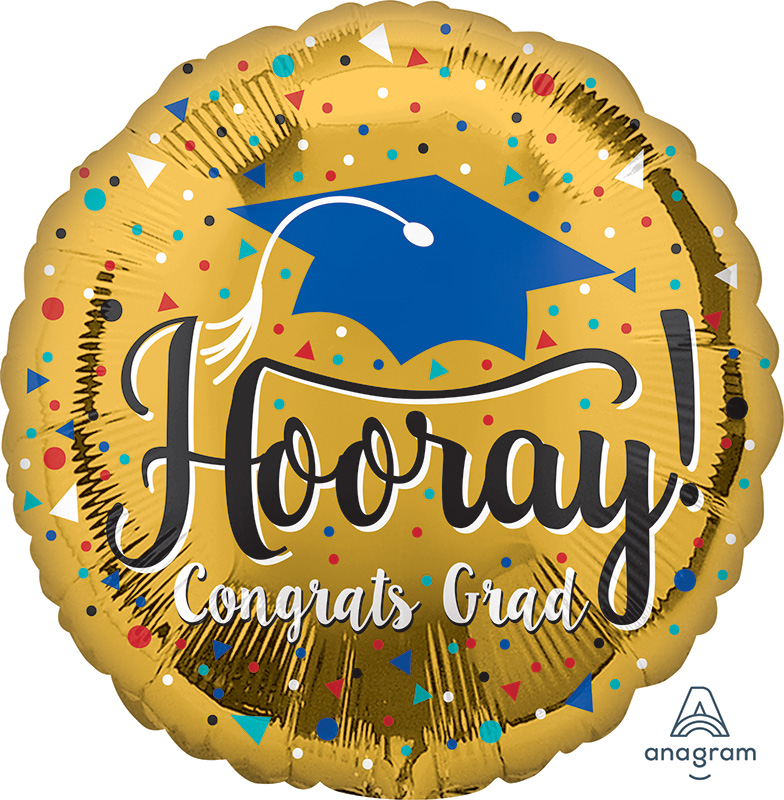 "18"" Hooray Grad Gold Foil Balloon"