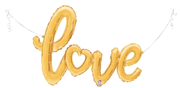 "47"" Air-filled Shape Love Script - Gold Foil Balloon"
