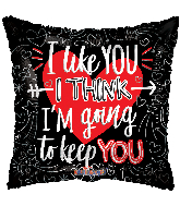"18"" I Like You Black Square Foil Balloon"