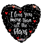 "18"" I Love You More Than Stars Holographic Foil Balloon"