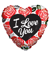 "18"" I Love You Red & Black Roses Foil Balloon"