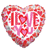 "18"" I Love You Glitter Hearts Holographic Foil Balloon"
