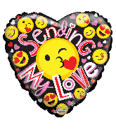 "36"" Sending My Love Smilies Gellibean Foil Balloon"