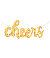 "47"" Air-filled Shape Cheers Script - Gold Foil Balloon"