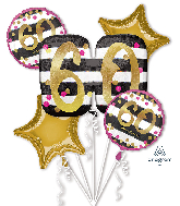 Bouquet Pink & Gold Milestone 60 Foil Balloon