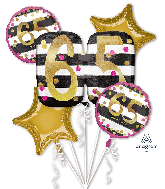 Bouquet Pink & Gold Milestone 65 Foil Balloon
