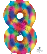 "34"" Number 8 Rainbow Splash Foil Balloon"