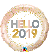 "18"" Round Hello 2019 Foil Balloon"