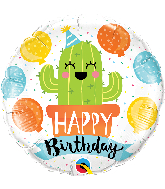 "18"" Round Birthday Party Cactus Foil Balloon"