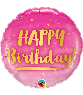 "18"" Round Birthday Gold & Pink Foil Balloon"