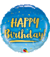 "18"" Round Birthday Gold & Blue Foil Balloon"