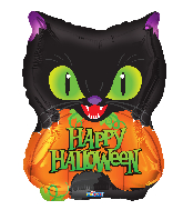 "18"" Halloween Cat & Pumpkin Foil Balloon"
