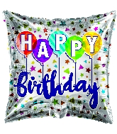 "18"" Happy Birthday Confetti White Square Foil Balloon"
