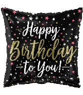 "18"" Birthday Black Square Foil Balloon"