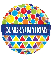 "18"" Congratulations Dots & Triangles Foil Balloon"