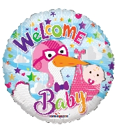 "18"" Welcome Girl Stork Foil Balloon"