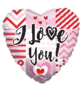 "18"" I Love You Lines Foil Balloon"