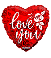 "18"" Love You Rose Pattern Foil Balloon"